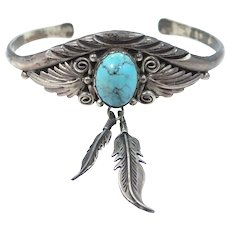 Signed KB Native American Sterling Silver & Turquoise Cuff Bracelet