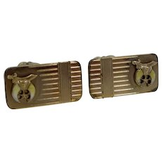 Shriner's Fraternal Gold Filled & Enamel Cufflinks Cuff Links