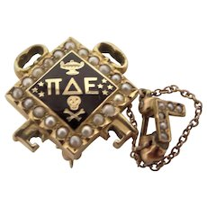 Vintage 14k Gold Pi Delta Epsilon Fraternity Pin with Seed Pearls w/Gamma Chapter Pin
