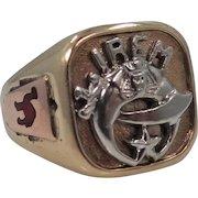 10k Gold Irem Temple Shriner's Enamel Man's Ring Heavy & Nice