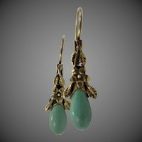 Vintage Sterling Vermeil Turquoise Agate Dangle Earrings