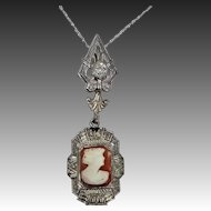 14k White Gold Diamond Cameo Filigree Necklace