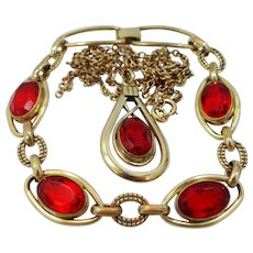 1950's Simmons Gold Filled Red Stones Bracelet and Necklace