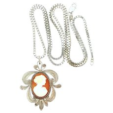 Vintage Sterling Silver Filigree Shell Cameo Necklace