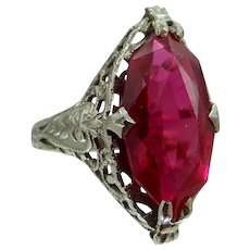 14k White Gold Art Deco Filigree Ruby Ring