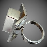 Extraordinary Solid Sterling Silver Abstract Mid Century Size 8 Ring