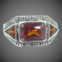 Vintage Sterling Silver, Marcasites and Garnet Colored Glass Ring