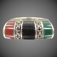 Pretty Sterling Silver, Gemstones and Marcasites Lady's Size 7 1/4 Ring