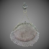 Gorgeous Art Nouveau Beaded Chatelaine Purse with Matching Clip