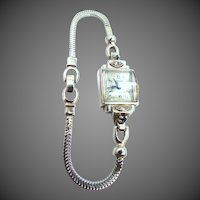 14k White Gold Case and Band Diamonds & Sapphires 17 Jewels Watch