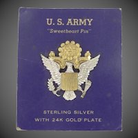 WWII U.S. Army Sweetheart Pin Sterling Silver w/24k Gold Plating Mint on Card