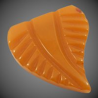 Butterscotch Carved Bakelite Dress Clip