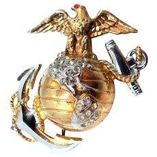 WWII Sterling Vermeil U.S. Marines Sweetheart Pin
