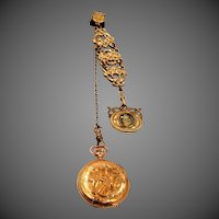 Hampden Molly Stark Pocket Watch on Bigney Watch Chain & Fob