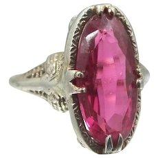 1920's 14k White Gold Filigree Ruby Ring