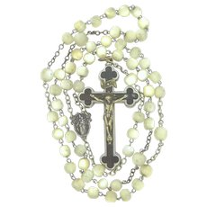 Beautiful Reliquary Crucifix Rosary with Mother of Pearl Beads