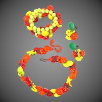 Vintage Fruit Salad Necklace, Memory Wire Bracelet & Earrings Murano Glass Multi Color Lamp Work