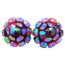 Vogue Pink Aurora Borealis Clip on Earrings