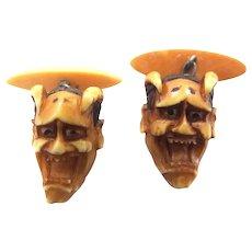 Antique Celluloid Carved Devil Noh Mask Cufflinks Cuff Links