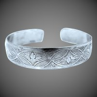 Solid Sterling Silver Danecraft Deco Style Cuff Bracelet