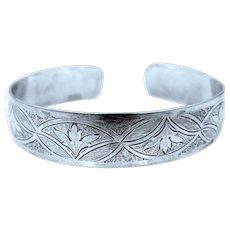 Solid Sterling Silver Danecraft Deco Style Cuff Bracelet