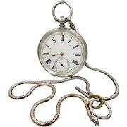 Late 1800's Twin Key Wind .935 Sterling Silver Pocket Watch Working Condition