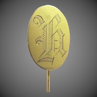Victorian 10k Solid Gold Stick Pin or Sash Pin
