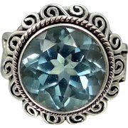 Balinese Sterling Silver Blue Topaz Lady's Size 7 Ring
