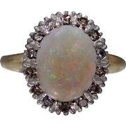 1930's 14k Gold Fiery Opal and Diamonds Lady's Size 7 Ring