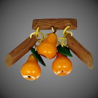 1940's Butterscotch Bakelite Pears Dangle Pin