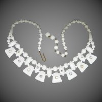 1950's White Milk Glass Necklace With Rhinestone Accents