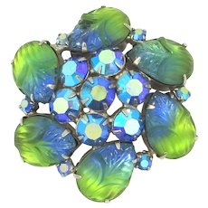 Confirmed Juliana D & E Blue and Green Molded Floral Stones Pin Brilliant Colors