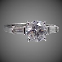 10k White Gold Faux Diamonds Size 8 1/4 Ring, Wedding, Engagement, Right Hand