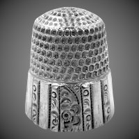 Stern Bros. NY Sterling Silver Paneled Repousse Thimble