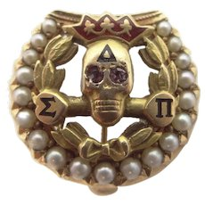 14k Solid Gold Delta Sigma Pi Fraternity Skull Pin / Badge with Seed Pearls