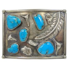 Solid Sterling Silver & Turquoise Heavy Southwestern Buckle