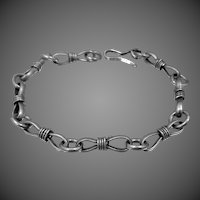 Sterling Mexico Anchor or Figure 8 Pattern Bracelet