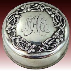 Gorham Sterling Silver Art Nouveau Rouge Jar or Pill Case