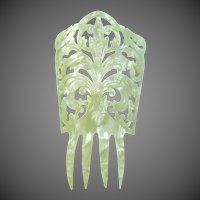 Large Victorian Marbelized Celluloid Hair Comb Resembles Mother of Pearl
