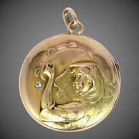 Victorian 10k Rose Gold and Green Gold Diamond Locket Woman with Tambourine