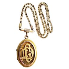Victorian 14k Solid Gold Locket with Chain