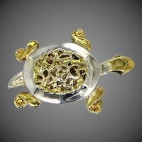 Sterling With Gold Wash Figural Turtle Brooch