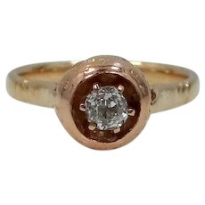 Victorian 14k Rose Gold and 20 Point Diamond Solitaire Unusual Ring