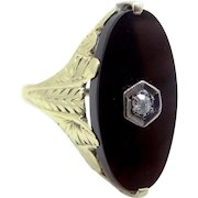 Art Deco 14k YELLOW Gold Black Onyx and Diamond Lady's Size 6 Ring