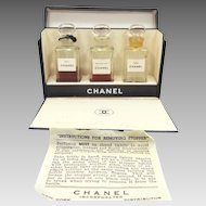 1930's Chanel Three Moods Perfumes with Original Box and Brochure