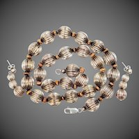Pretty Ribbed Sterling Silver Beads Necklace & Matching Pierced Earrings