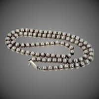 """27"""" Long Mexico Sterling Silver Beaded Necklace 2.61 ozt."""