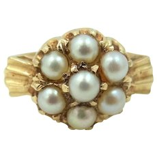 14k Gold & Large Seed Pearls Lady's Size 9 1/4 Ring