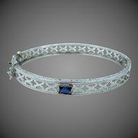 Rhodium Plated Filigree Art Deco Doll Bangle Bracelet