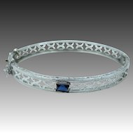 Rhodium Plated Filigree Art Deco Doll Bangle Bracelet